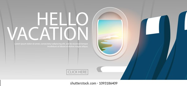 View of plane's cabin windows with view of plane's wing can see tropical sea coast with clear sea water and blue sky in hot summer day, also text-HELLO VACATION in horizontal poster background style