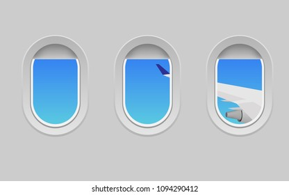 View of plane's cabin windows with view of plane's wing can see tropical sea coast with clear sea water in hot summer day for wallpaper,background or backdrop