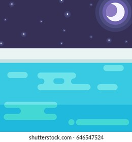 View from the pool at night. Vector illustration