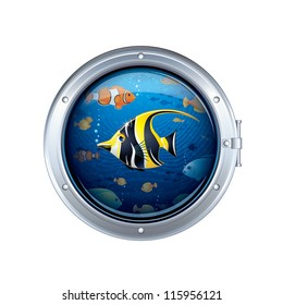 View from the Porthole Window. Vector Cartoon Illustration.