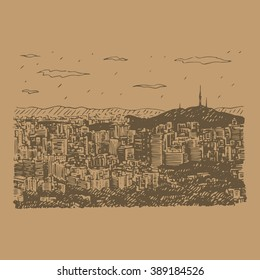 View of Seoul, South Korea. Downtown with N Seoul Tower on the skyline. Sketch by hand. Vector illustration