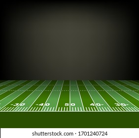 view from the sideline of an American football field. Vector illustration
