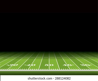A view from the sideline of an American football field with room for copy. Vector EPS 10.
