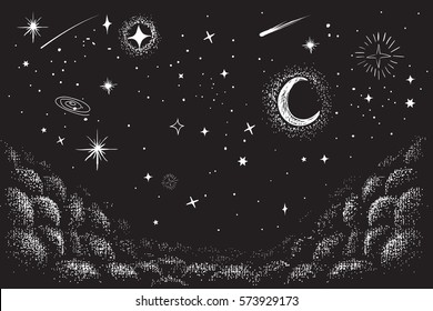 view to the sky in nighttime.Hand drawn vector illustration.Stars and other universe objects