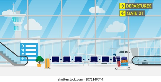 View of space in the airport terminal with long chair,luggage cart,escalators,sign direction,luggage and wide glass window which can see airplane,airport terminal and ATC tower