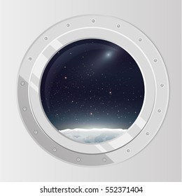 View from spaceship. Flat cartoon illustration of flight window, stars, planets, moon. Outer space. Vector porthole.