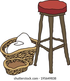The view of stool with basket