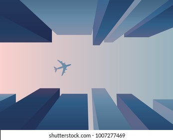 View up from the street between skyscrapers with plane flying in the sky, vector background. Corporate financial district architecture concept with perspective. Eps10 vector illustration.