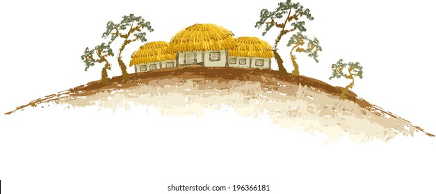 The view of thatched house