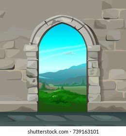 View through the arch of stone castle at landscape the nature views of forest and rolling mountains. Sketch for card, poster on theme of ancient architecture and nature. Cartoon vector close-up.