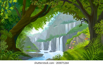 A view through a natural window of forest into the tranquilly of scenic water falls