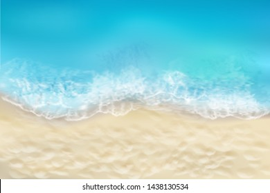 View from the top of the sandy beach. Waves on the seashore. Summer day. Vector illustration.