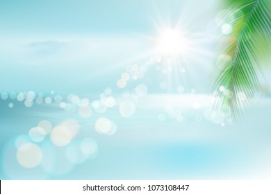 View of a tropical beach with palm tree. Vector Illustration.