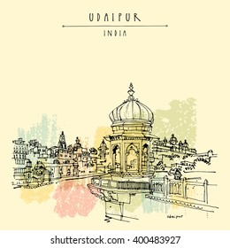 View of Udaipur, Rajasthan, India. Hindu temple, ghat. Hand drawn cityscape sketch. Travel art. Vintage artistic postcard template. Vector illustration