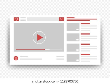 View video clips in the browser window. Vector Online video template.
