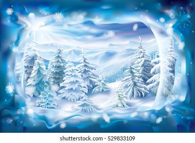 View of winter landscape through frozen snowy frame