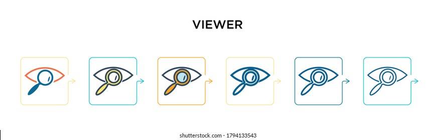 Viewer vector icon in 6 different modern styles. Black, two colored viewer icons designed in filled, outline, line and stroke style. Vector illustration can be used for web, mobile, ui