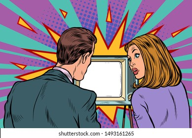 Viewers, couple family husband and wife watch TV. Pop art retro vector illustration drawing