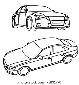 Views of hand drawn car model