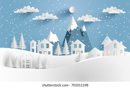Views of the house in winter. Art paper and crafts