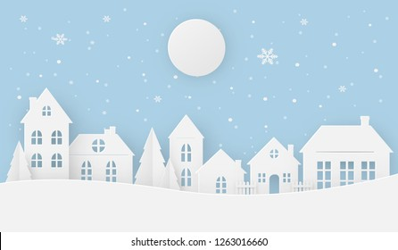 Views of the house in winter on a snowy day with full moon. Happy new year and Merry christmas, paper art, digital craft style, vector illustration.