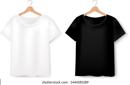 Views Of T-shirt Set On White Background With Gradient Mesh, Vector Illustration