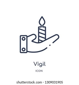 vigil icon from religion outline collection. Thin line vigil icon isolated on white background.