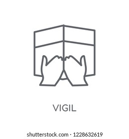 Vigil linear icon. Modern outline Vigil logo concept on white background from Religion-2 collection. Suitable for use on web apps, mobile apps and print media.