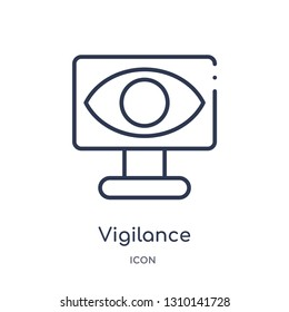 vigilance icon from user interface outline collection. Thin line vigilance icon isolated on white background.