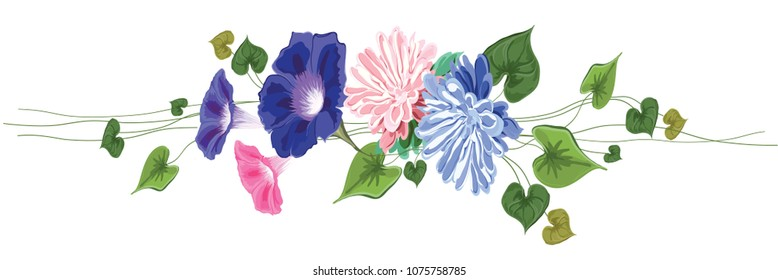 vignette garland horizontal straight. Of flowers, leaves and curly stems-aster, vine, ivy, green, pink, blue on a white background in vector, isolated