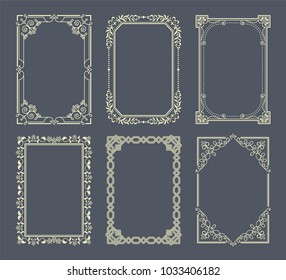 Vignettes set of vintage photo frames vector illustration retro style borders curved elements in corners, decorative elegant vintage frames on grey backdrop