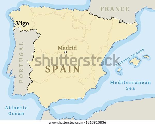 Map Of Spain Vigo.Vigo Map Location Locate City On Stock Vector Royalty Free 1313910836