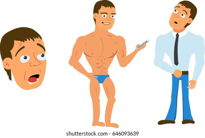 Vigorous and Cheerful Cartoon Character Rigged For Animation Holding Smartphone Set