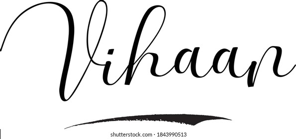 Vihaan-Male Name Cursive Calligraphy on White Background