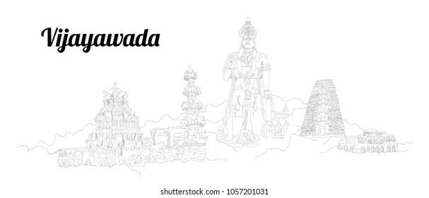 Vijayawada city hand drawing panoramic sketching style illustration