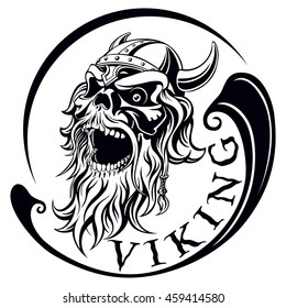 viking, ancient warrior, skull with a beard and a helmet with horns, open mouth, vector illustration