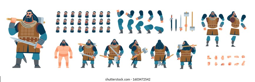 Viking animated character for creating fantasy video games. Front, side, back view. Warrior barbarian character creation set with various views, face emotions, poses and gestures. Cartoon vector - Shutterstock ID 1603472542