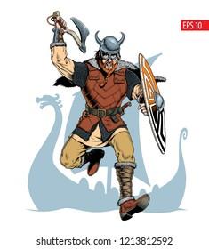 Viking with ax and shield attacks. Vector illustration.