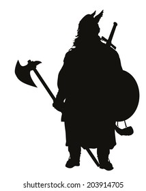 Viking with axe detailed vector silhouette. EPS 8