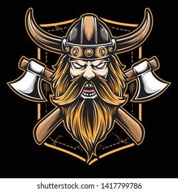 viking axe logo and vector