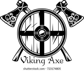 Viking axe of Scandinavian pattern and viking shield, vector illustration