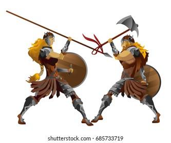 viking barbarian attack man and female