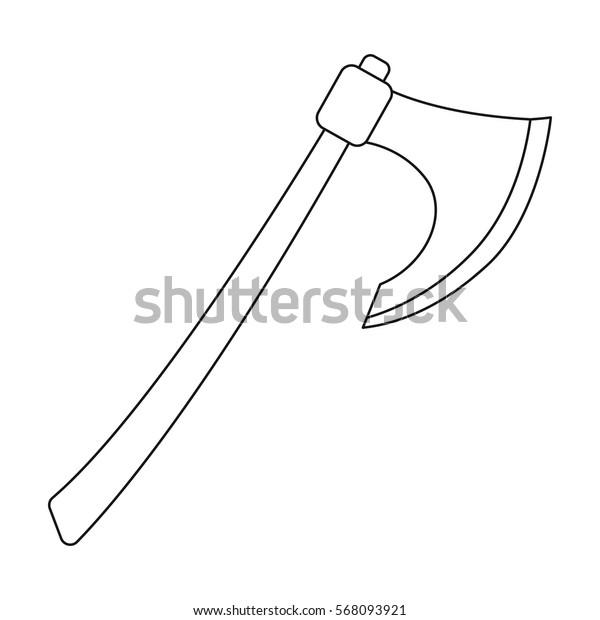 Viking battle-axe icon in outline style isolated on white background. Vikings symbol stock vector illustration.