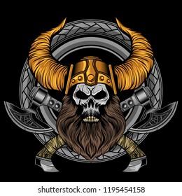 viking beard skull cross axes in circle ornamnet vector illustration