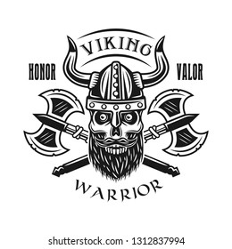 Viking bearded skull and axes vector emblem, label, badge, logo or t-shirt print in monochrome style isolated on white background