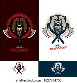 Viking Berserker the fearless elite squad vector insignia in battle cry pose