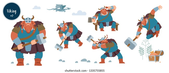 Viking. Big strong red warrior with axe and helmet with horns. Design concept with flat human character of various emotions in different situations with cartoon pictograms vector isolated illustration