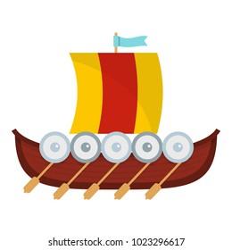 Viking boat icon. Flat illustration of viking boat vector icon for web