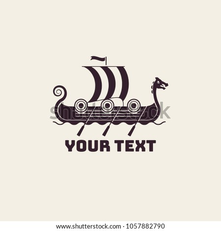 Viking Boat Illustration Logo Template