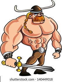 Viking cartoon with a big sword and blond hair in a ponytail. Isolated